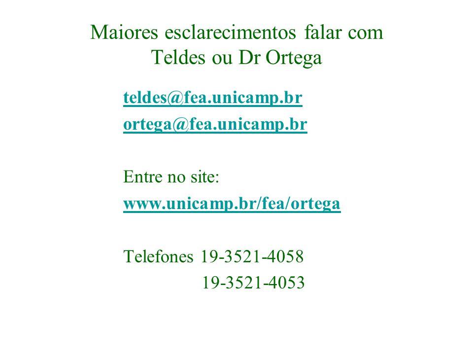 Maiores esclarecimentos falar com Teldes ou Dr Ortega teldes@fea.unicamp.br ortega@fea.unicamp.br Entre no site: www.unicamp.br/fea/ortega Telefones 1