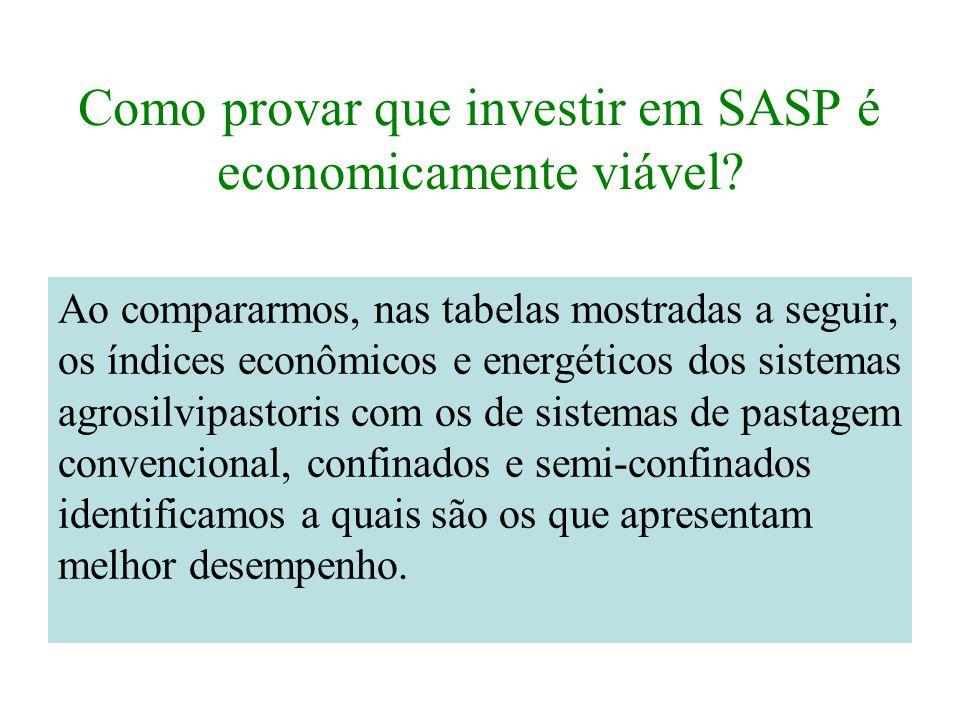 Como provar que investir em SASP é economicamente viável? Ao compararmos, nas tabelas mostradas a seguir, os índices econômicos e energéticos dos sist