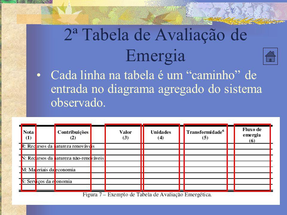 """2ª Tabela de Avaliação de Emergia Cada linha na tabela é um """"caminho"""" de entrada no diagrama agregado do sistema observado."""
