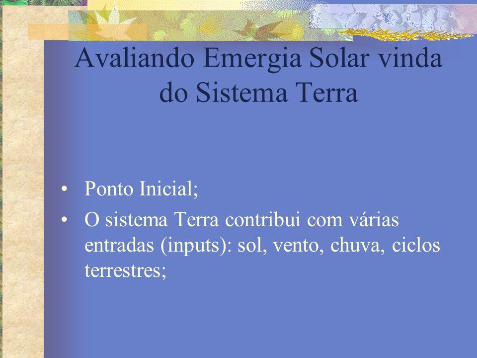 Avaliando Emergia Solar vinda do Sistema Terra Ponto Inicial; O sistema Terra contribui com várias entradas (inputs): sol, vento, chuva, ciclos terres