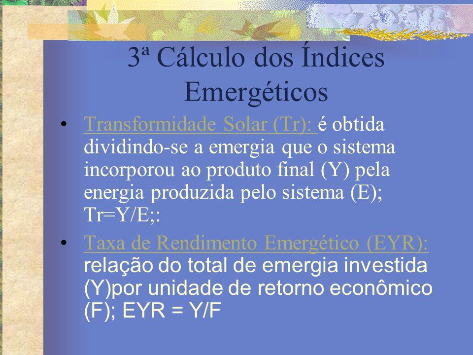 3ª Cálculo dos Índices Emergéticos Transformidade Solar (Tr): é obtida dividindo-se a emergia que o sistema incorporou ao produto final (Y) pela energ