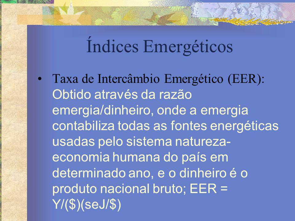 Índices Emergéticos Taxa de Intercâmbio Emergético (EER): Obtido através da razão emergia/dinheiro, onde a emergia contabiliza todas as fontes energét