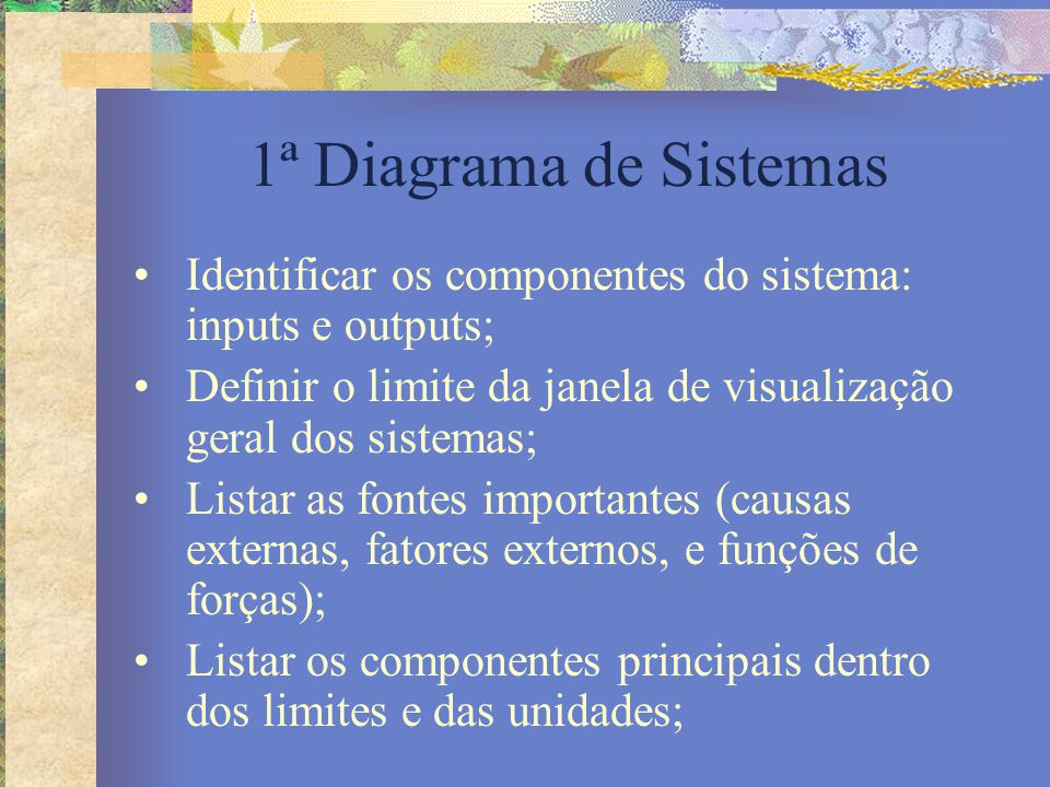 Diagrama de Sistemas Listar os processos (fluxos, relacionamentos, interações, processos de produção e consumo e assim por diante); Desenhar o diagrama de sistemas, começando com as fontes externas arranjadas em torno da forma retangular que marca o limite;