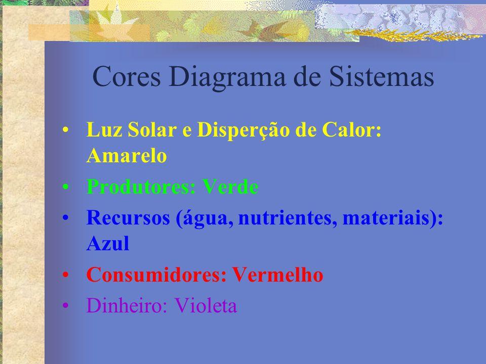 Cores Diagrama de Sistemas Luz Solar e Disperção de Calor: Amarelo Produtores: Verde Recursos (água, nutrientes, materiais): Azul Consumidores: Vermel