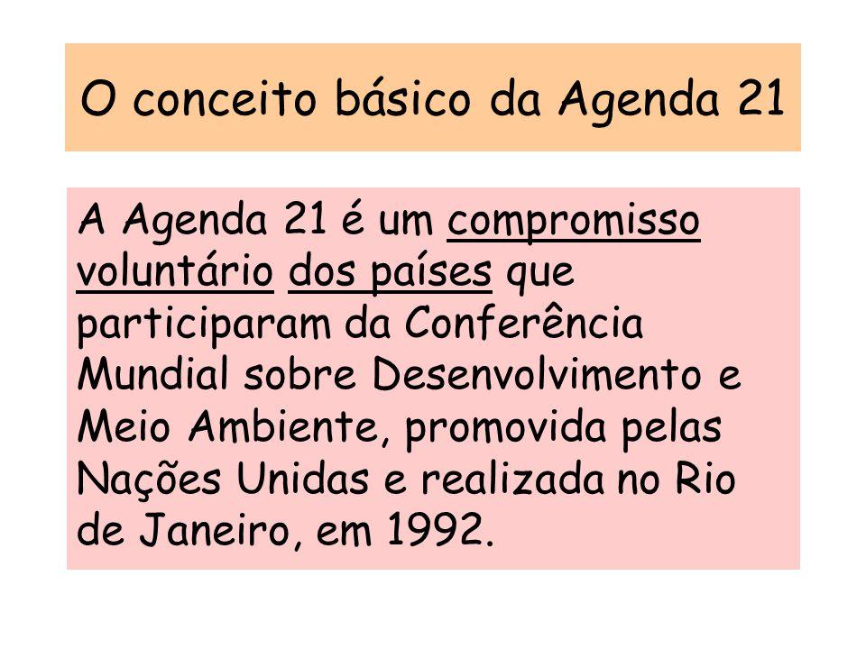 O conceito básico da Agenda 21 A Agenda 21 é um compromisso voluntário dos países que participaram da Conferência Mundial sobre Desenvolvimento e Meio