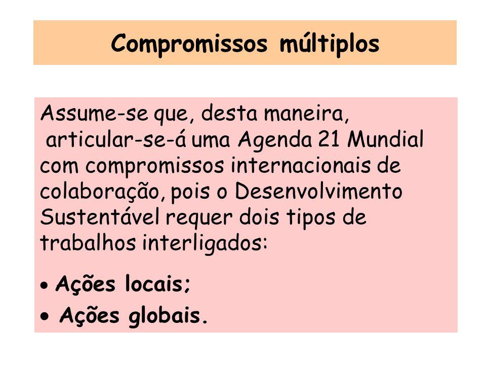 Compromissos múltiplos Assume-se que, desta maneira, articular-se-á uma Agenda 21 Mundial com compromissos internacionais de colaboração, pois o Desen