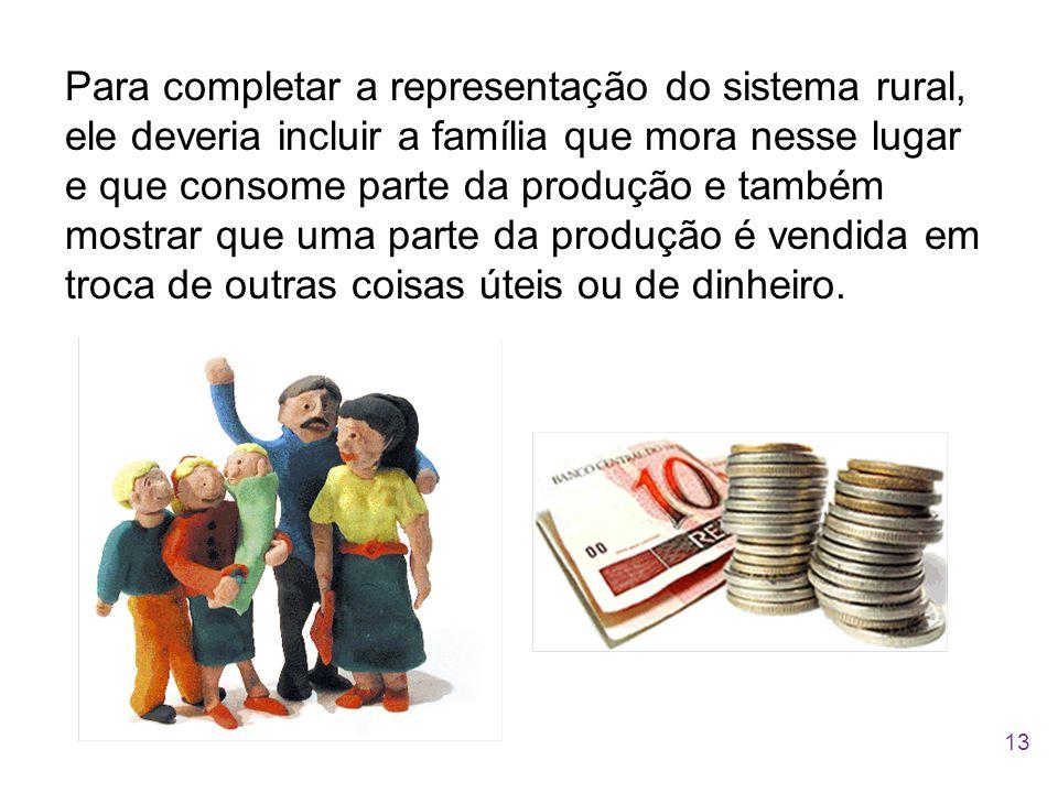 Para completar a representação do sistema rural, ele deveria incluir a família que mora nesse lugar e que consome parte da produção e também mostrar q