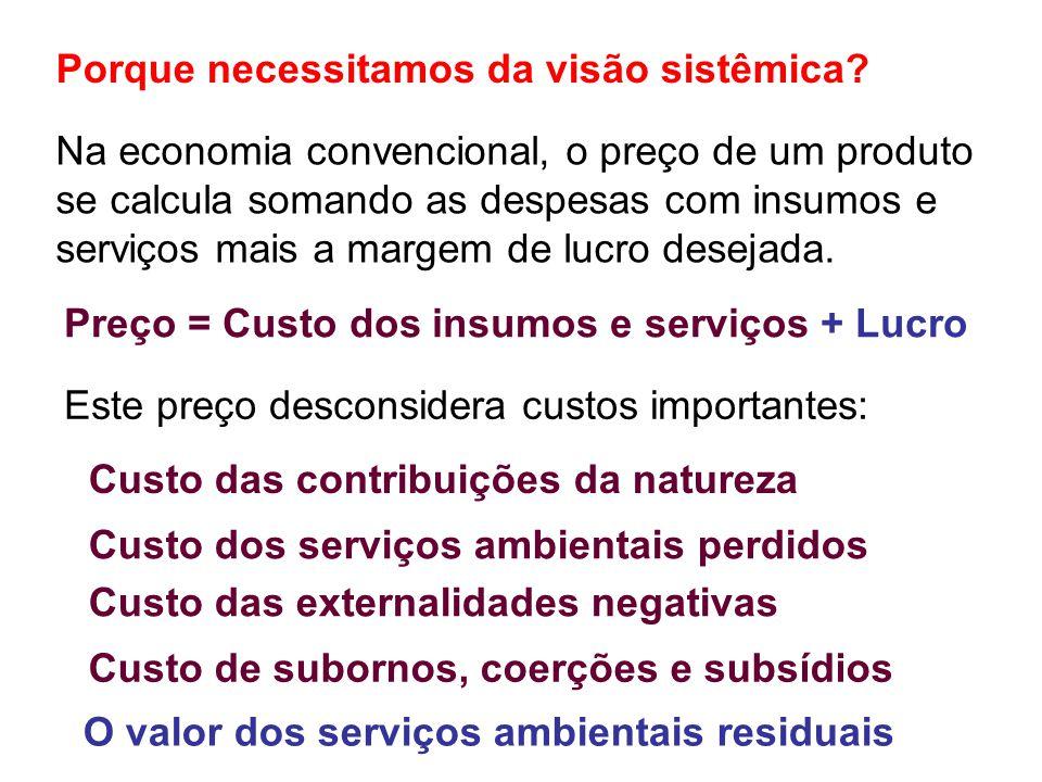 Na economia convencional, o preço de um produto se calcula somando as despesas com insumos e serviços mais a margem de lucro desejada.