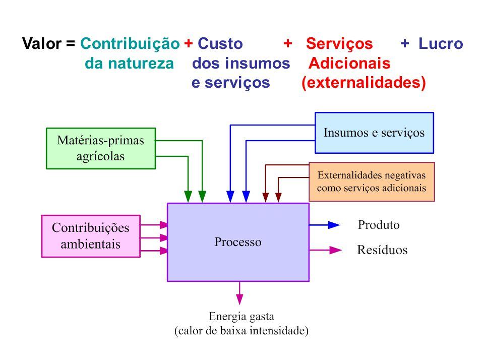 Valor = Contribuição + Custo + Serviços + Lucro da natureza dos insumos Adicionais e serviços (externalidades)