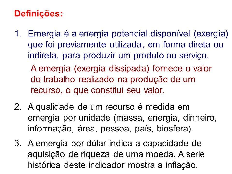 Definições: 2.A qualidade de um recurso é medida em emergia por unidade (massa, energia, dinheiro, informação, área, pessoa, país, biosfera). 1.Emergi