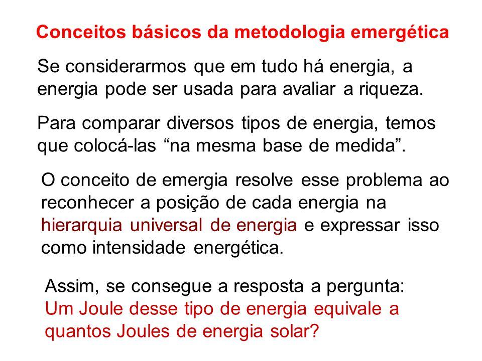 Conceitos básicos da metodologia emergética Se considerarmos que em tudo há energia, a energia pode ser usada para avaliar a riqueza. Para comparar di
