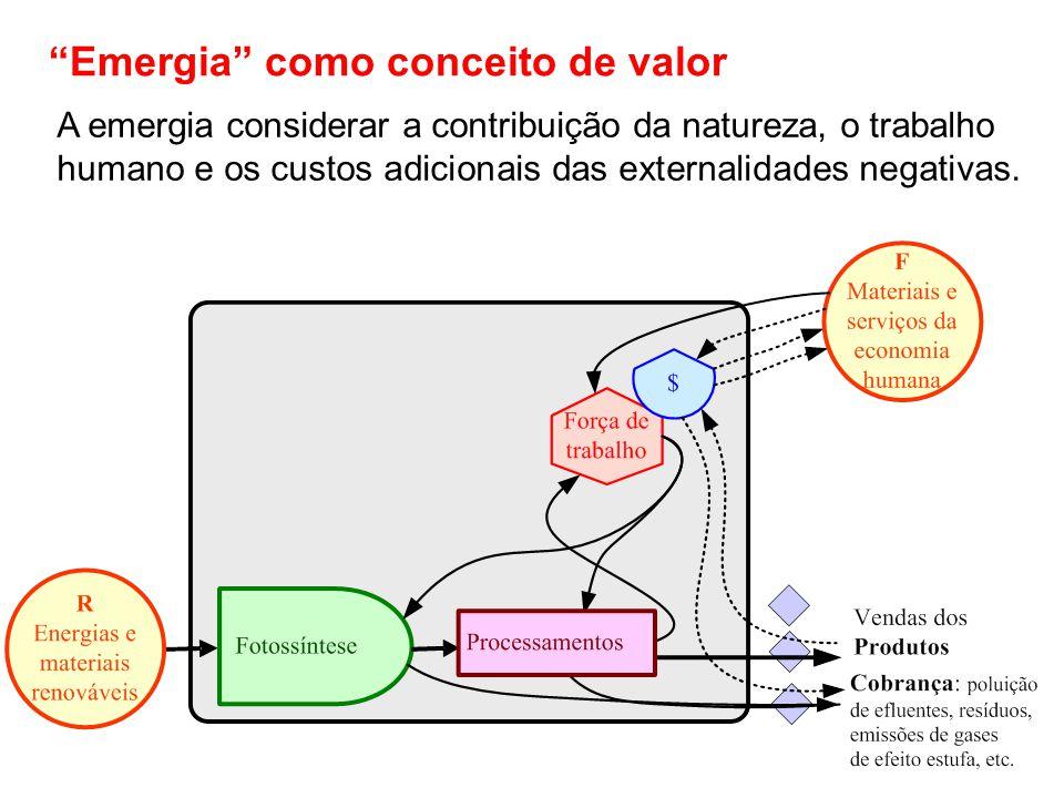 Emergia como conceito de valor A emergia considerar a contribuição da natureza, o trabalho humano e os custos adicionais das externalidades negativas.