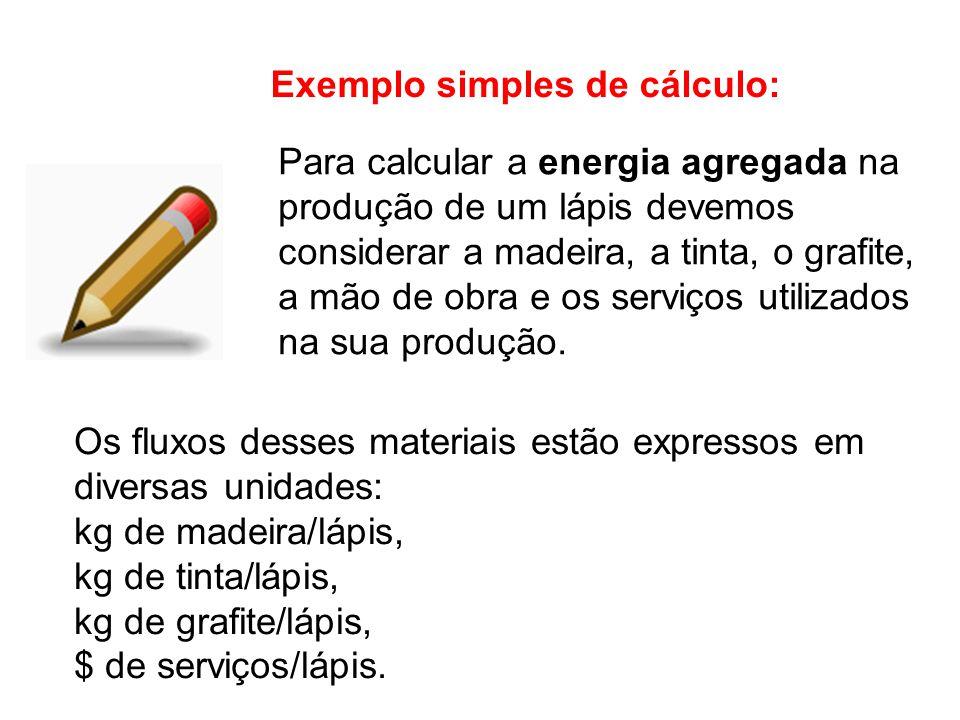 Exemplo simples de cálculo: Os fluxos desses materiais estão expressos em diversas unidades: kg de madeira/lápis, kg de tinta/lápis, kg de grafite/lápis, $ de serviços/lápis.