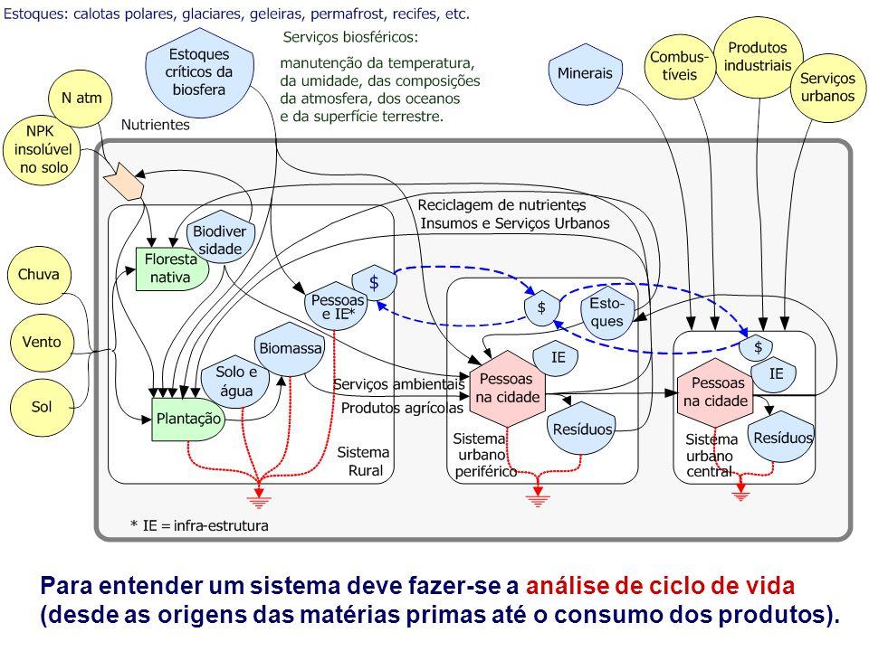 Para entender um sistema deve fazer-se a análise de ciclo de vida (desde as origens das matérias primas até o consumo dos produtos).