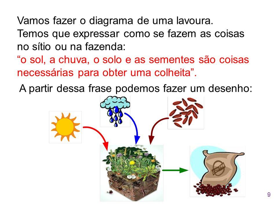 """Vamos fazer o diagrama de uma lavoura. Temos que expressar como se fazem as coisas no sítio ou na fazenda: """"o sol, a chuva, o solo e as sementes são c"""
