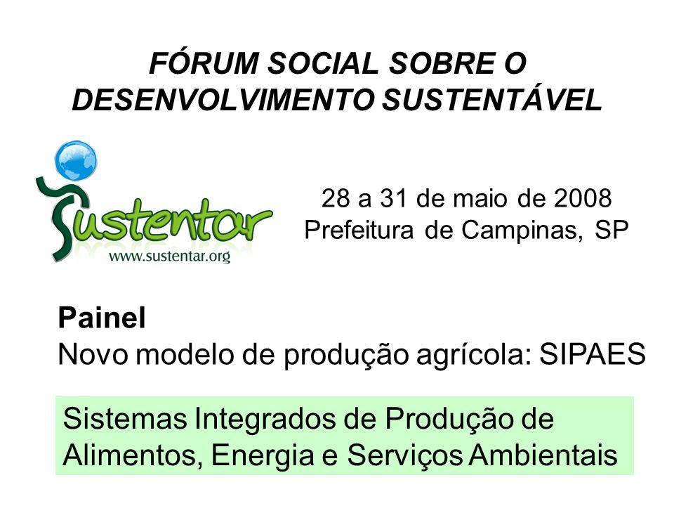 FÓRUM SOCIAL SOBRE O DESENVOLVIMENTO SUSTENTÁVEL 28 a 31 de maio de 2008 Prefeitura de Campinas, SP Painel Novo modelo de produção agrícola: SIPAES Si