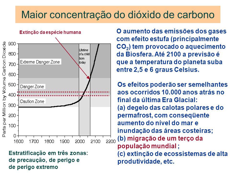 Maior concentração do dióxido de carbono O aumento das emissões dos gases com efeito estufa (principalmente CO 2 ) tem provocado o aquecimento da Bios