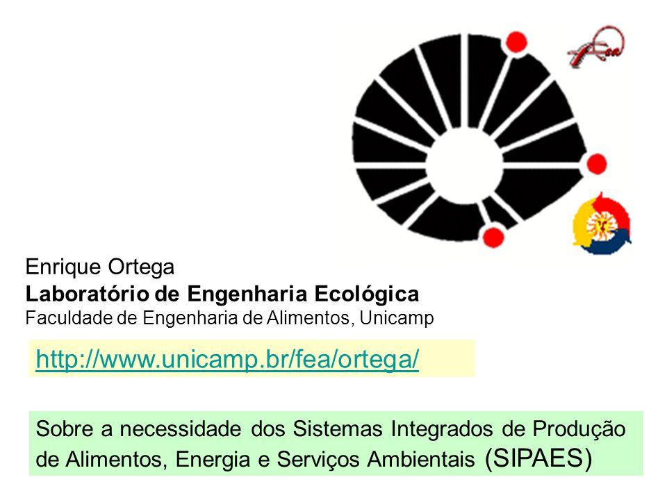 Enrique Ortega Laboratório de Engenharia Ecológica Faculdade de Engenharia de Alimentos, Unicamp Sobre a necessidade dos Sistemas Integrados de Produç