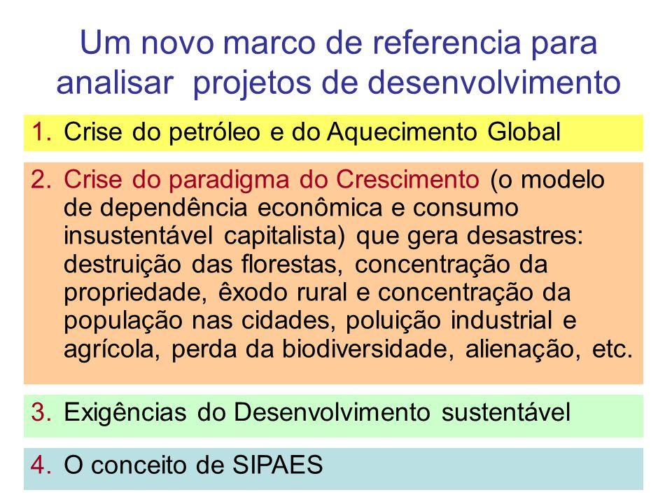 Um novo marco de referencia para analisar projetos de desenvolvimento 2.Crise do paradigma do Crescimento (o modelo de dependência econômica e consumo