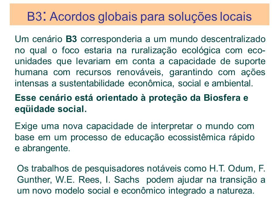 Um cenário B3 corresponderia a um mundo descentralizado no qual o foco estaria na ruralização ecológica com eco- unidades que levariam em conta a capa