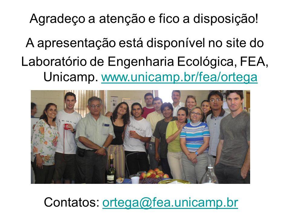 Agradeço a atenção e fico a disposição! A apresentação está disponível no site do Laboratório de Engenharia Ecológica, FEA, Unicamp. www.unicamp.br/fe