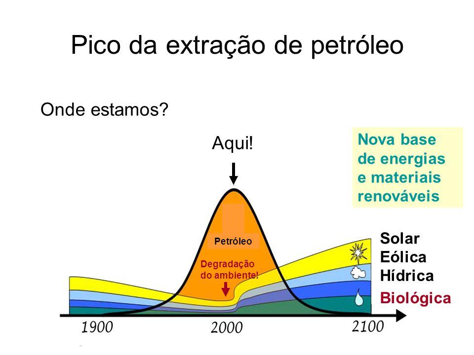 Pico da extração de petróleo Onde estamos? Aqui! Solar Eólica Hídrica Biológica Nova base de energias e materiais renováveis Petróleo Degradação do am
