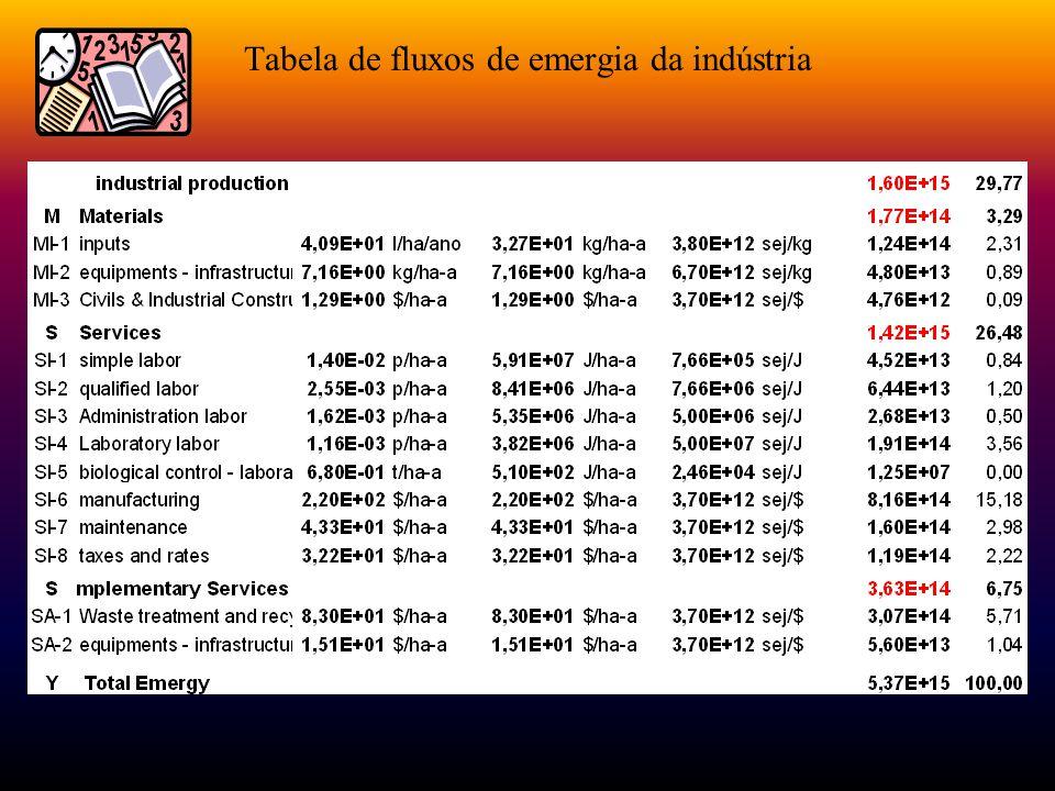 Tabela de fluxos de emergia da indústria