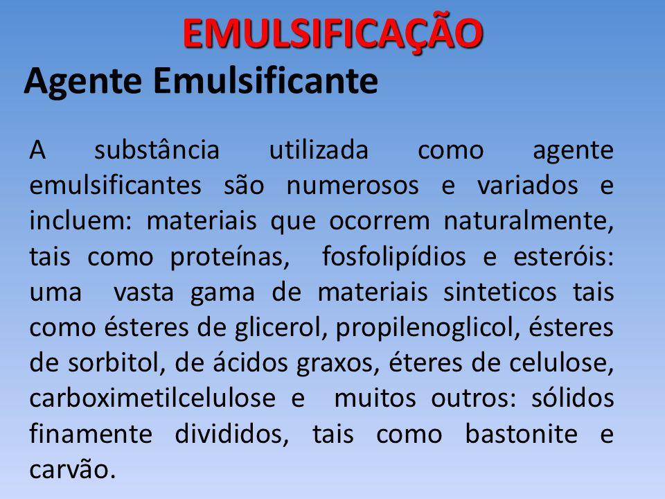 Agente Emulsificante A substância utilizada como agente emulsificantes são numerosos e variados e incluem: materiais que ocorrem naturalmente, tais co