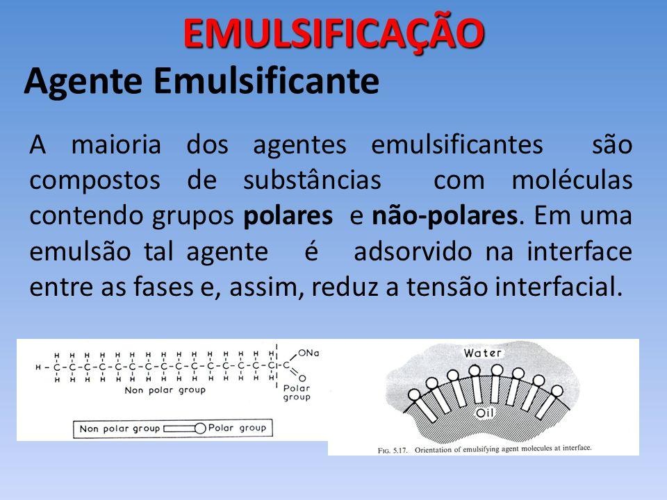 A maioria dos agentes emulsificantes são compostos de substâncias com moléculas contendo grupos polares e não-polares. Em uma emulsão tal agente é ads
