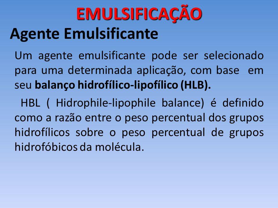 Um agente emulsificante pode ser selecionado para uma determinada aplicação, com base em seu balanço hidrofílico-lipofílico (HLB). HBL ( Hidrophile-li