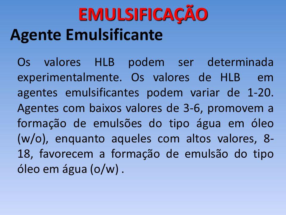 Os valores HLB podem ser determinada experimentalmente. Os valores de HLB em agentes emulsificantes podem variar de 1-20. Agentes com baixos valores d