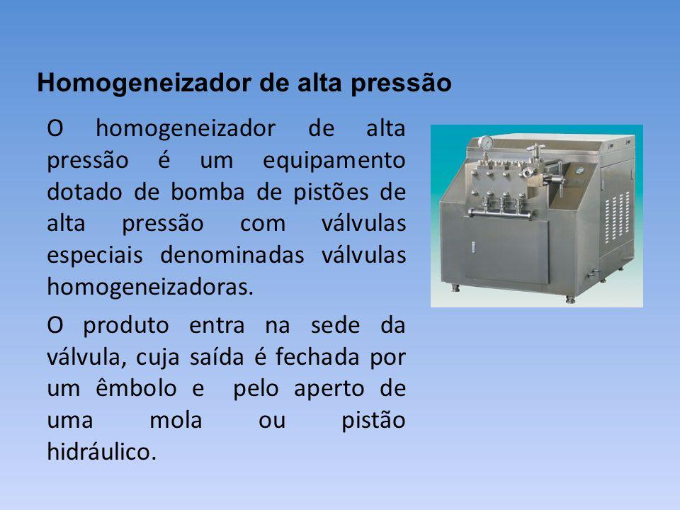 O homogeneizador de alta pressão é um equipamento dotado de bomba de pistões de alta pressão com válvulas especiais denominadas válvulas homogeneizado