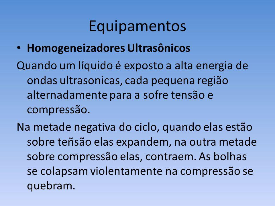 Equipamentos Homogeneizadores Ultrasônicos Quando um líquido é exposto a alta energia de ondas ultrasonicas, cada pequena região alternadamente para a