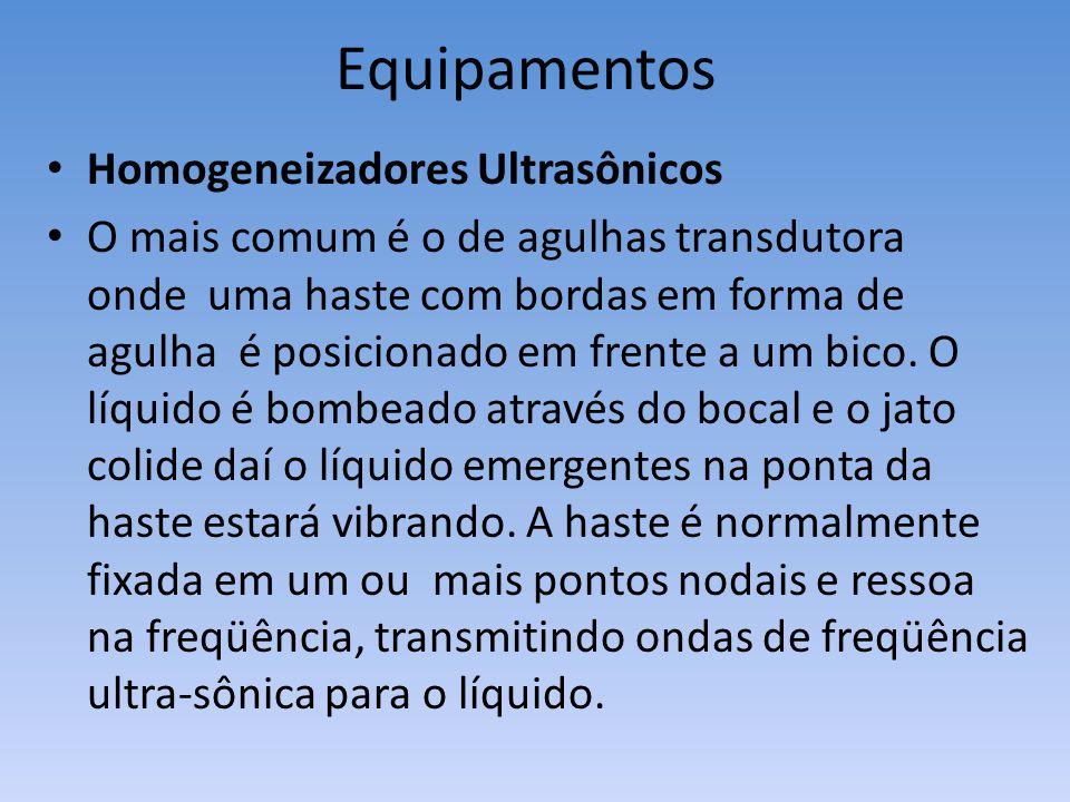 Homogeneizadores Ultrasônicos O mais comum é o de agulhas transdutora onde uma haste com bordas em forma de agulha é posicionado em frente a um bico.
