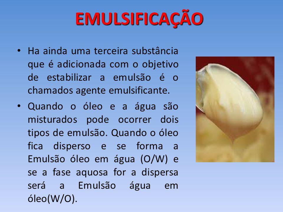 Ha ainda uma terceira substância que é adicionada com o objetivo de estabilizar a emulsão é o chamados agente emulsificante. Quando o óleo e a água sã