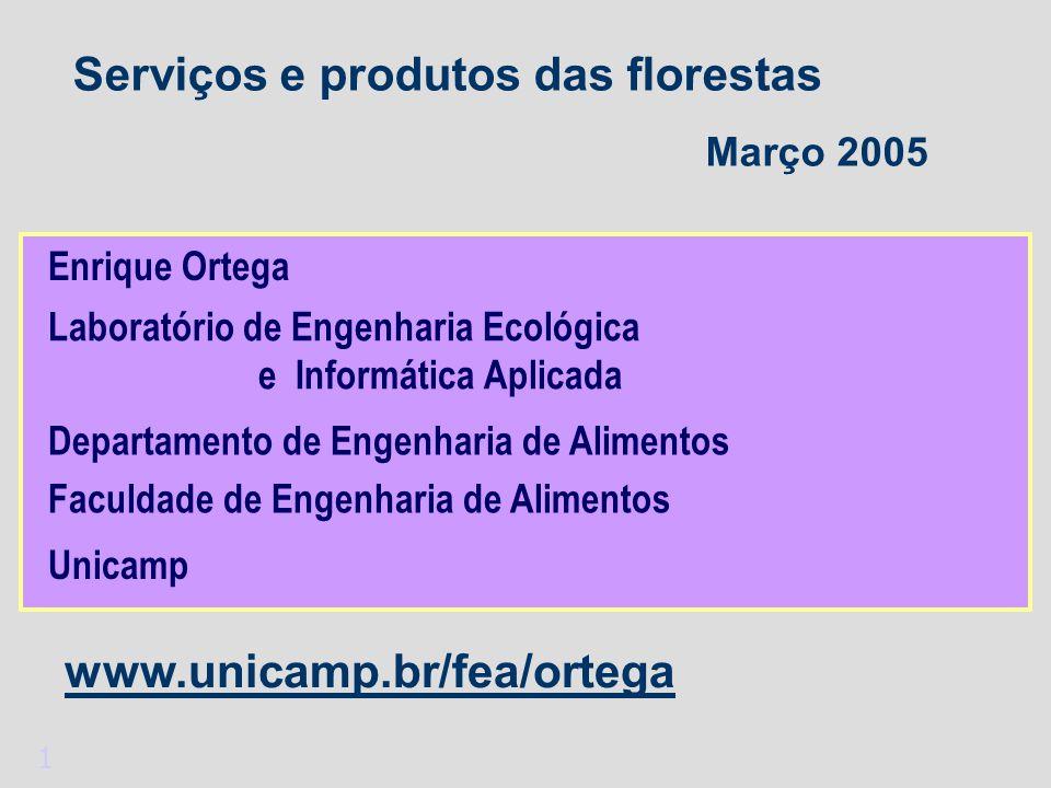 1 Serviços e produtos das florestas Março 2005 Enrique Ortega Departamento de Engenharia de Alimentos Laboratório de Engenharia Ecológica e Informática Aplicada Unicamp www.unicamp.br/fea/ortega Faculdade de Engenharia de Alimentos