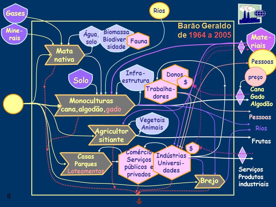 7 Barão Geraldo de 1930 a 1964 Água, solo Solo Mine- rais Biomassa Biodiver- sidade Mate- riais Fauna Infra- estrutura Donos Trabalha- dores Gases Mon
