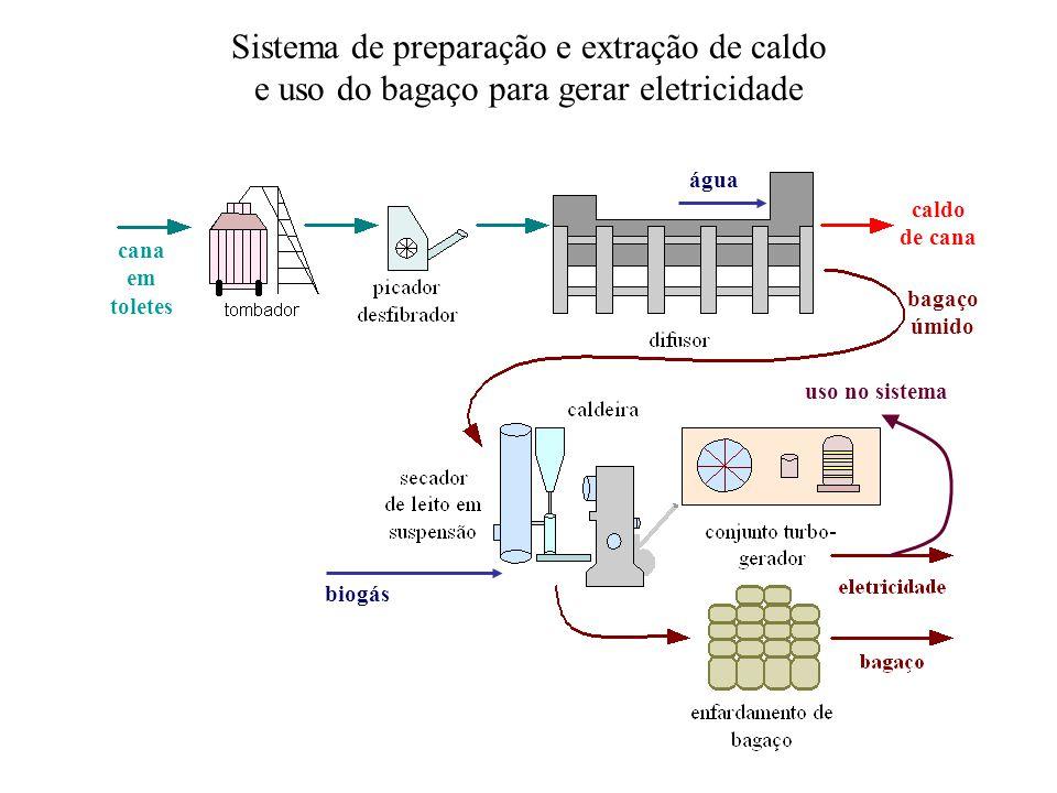 cana em toletes bagaço úmido caldo de cana Sistema de preparação e extração de caldo e uso do bagaço para gerar eletricidade biogás água uso no sistema