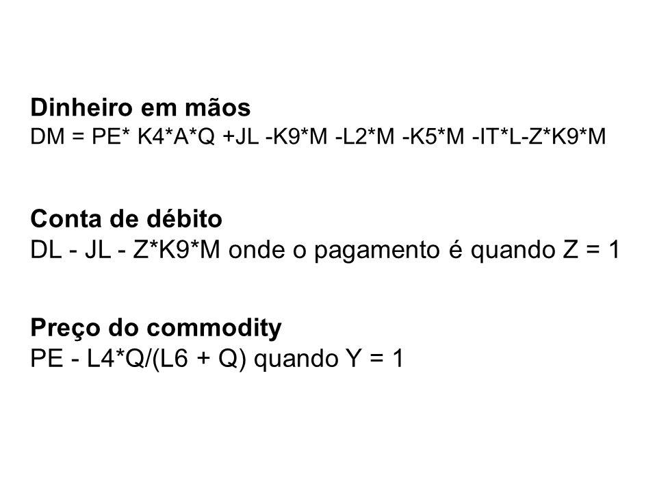 Dinheiro em mãos DM = PE* K4*A*Q +JL -K9*M -L2*M -K5*M -IT*L-Z*K9*M Preço do commodity PE - L4*Q/(L6 + Q) quando Y = 1 Conta de débito DL - JL - Z*K9*M onde o pagamento é quando Z = 1