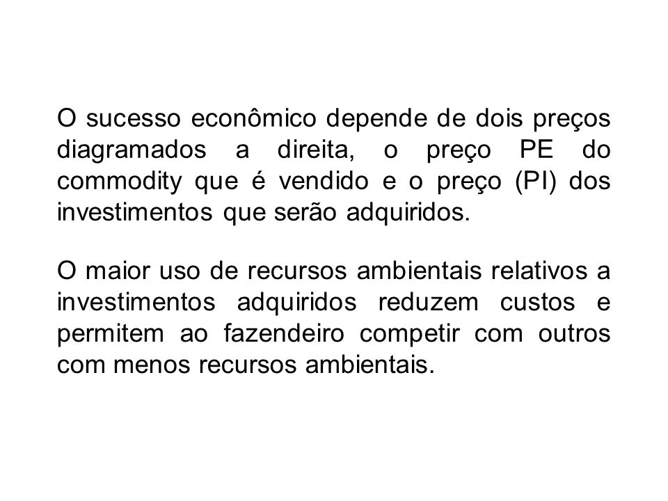 O sucesso econômico depende de dois preços diagramados a direita, o preço PE do commodity que é vendido e o preço (PI) dos investimentos que serão adquiridos.