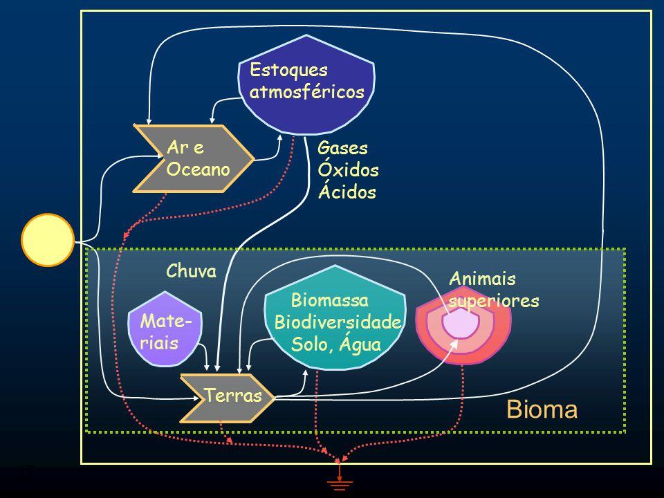 17 Bioma Ar e Oceano Terras Mate- riais Biomassa Biodiversidade Solo, Água Gases Óxidos Ácidos Estoques atmosféricos Chuva Animais superiores