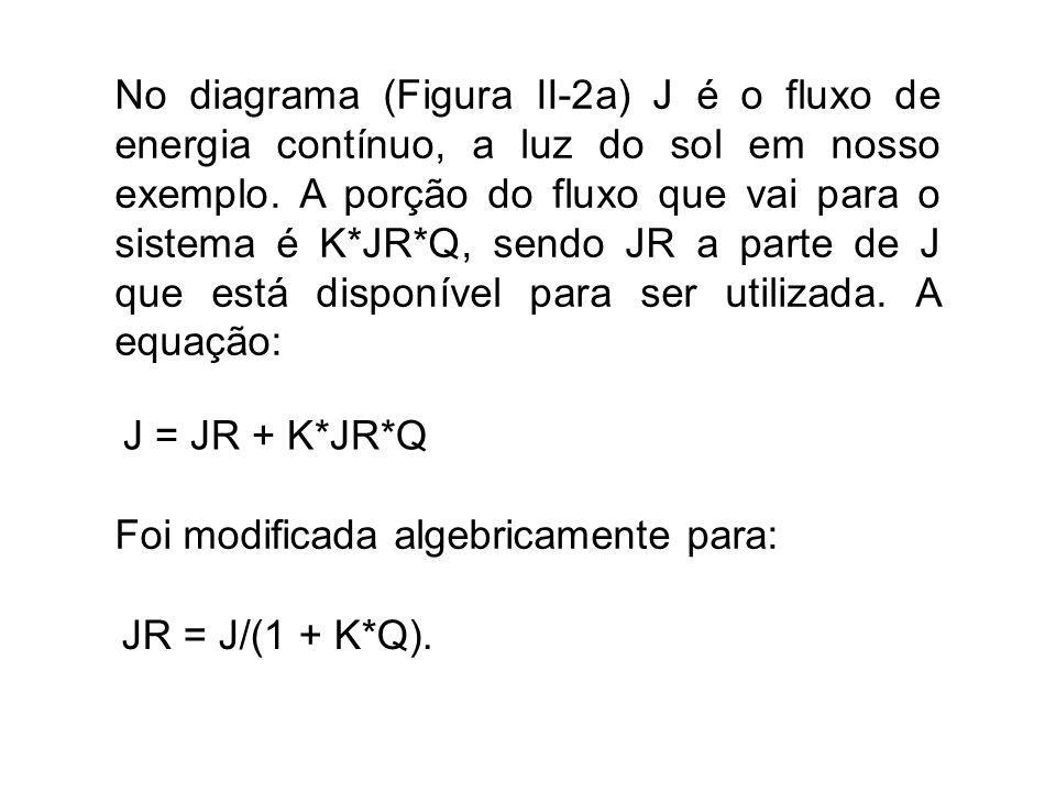 No diagrama (Figura II-2a) J é o fluxo de energia contínuo, a luz do sol em nosso exemplo. A porção do fluxo que vai para o sistema é K*JR*Q, sendo JR