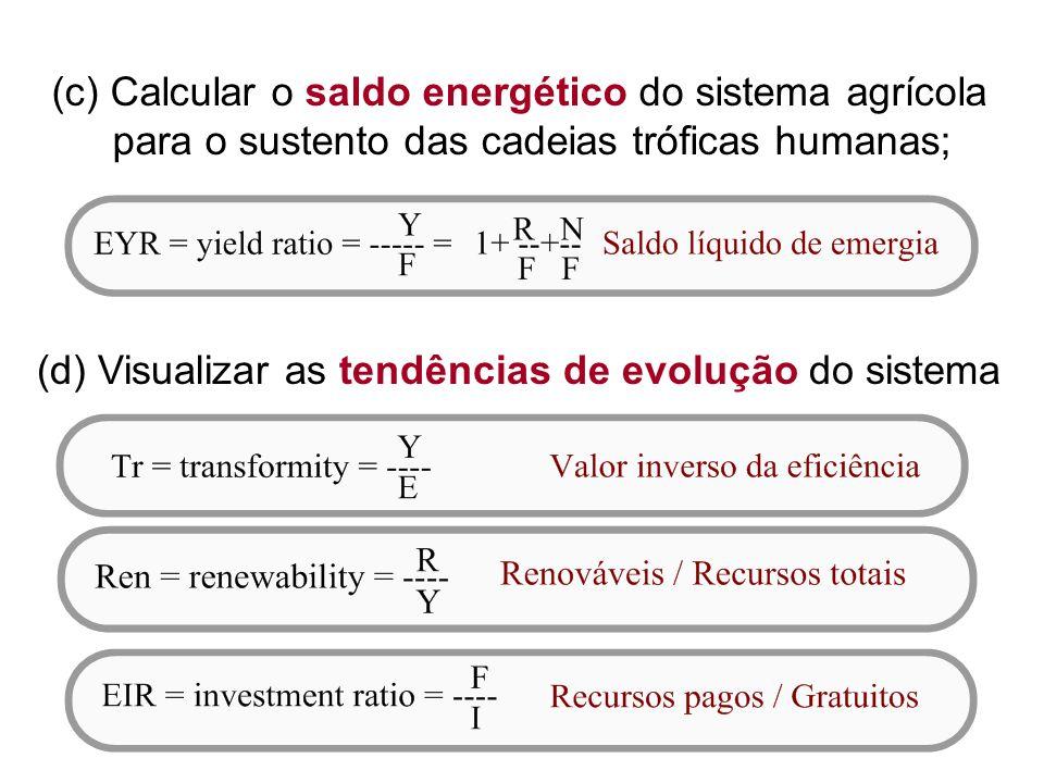 (c) Calcular o saldo energético do sistema agrícola para o sustento das cadeias tróficas humanas; (d) Visualizar as tendências de evolução do sistema