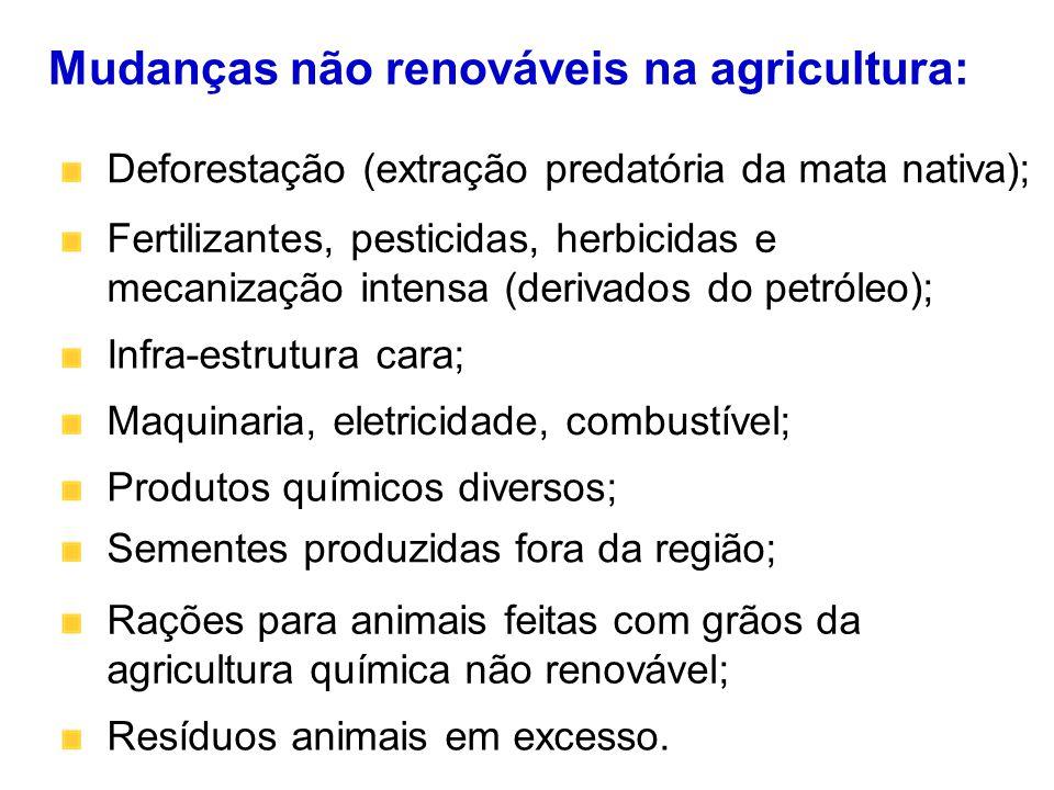 Fertilizantes, pesticidas, herbicidas e mecanização intensa (derivados do petróleo); Mudanças não renováveis na agricultura: Infra-estrutura cara; Maq