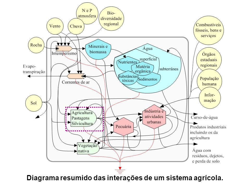 Diagrama resumido das interações de um sistema agrícola.
