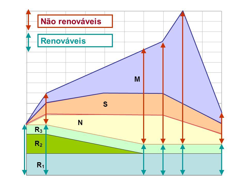 R1R1 R2R2 R3R3 N S M Não renováveis Renováveis