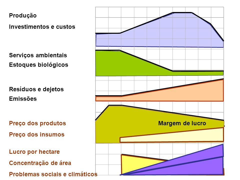 Serviços ambientais Estoques biológicos Resíduos e dejetos Emissões Produção Investimentos e custos Concentração de área Preço dos insumos Lucro por h