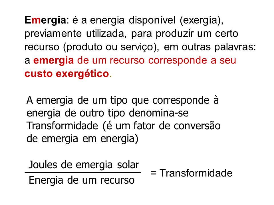 Emergia: é a energia disponível (exergia), previamente utilizada, para produzir um certo recurso (produto ou serviço), em outras palavras: a emergia d