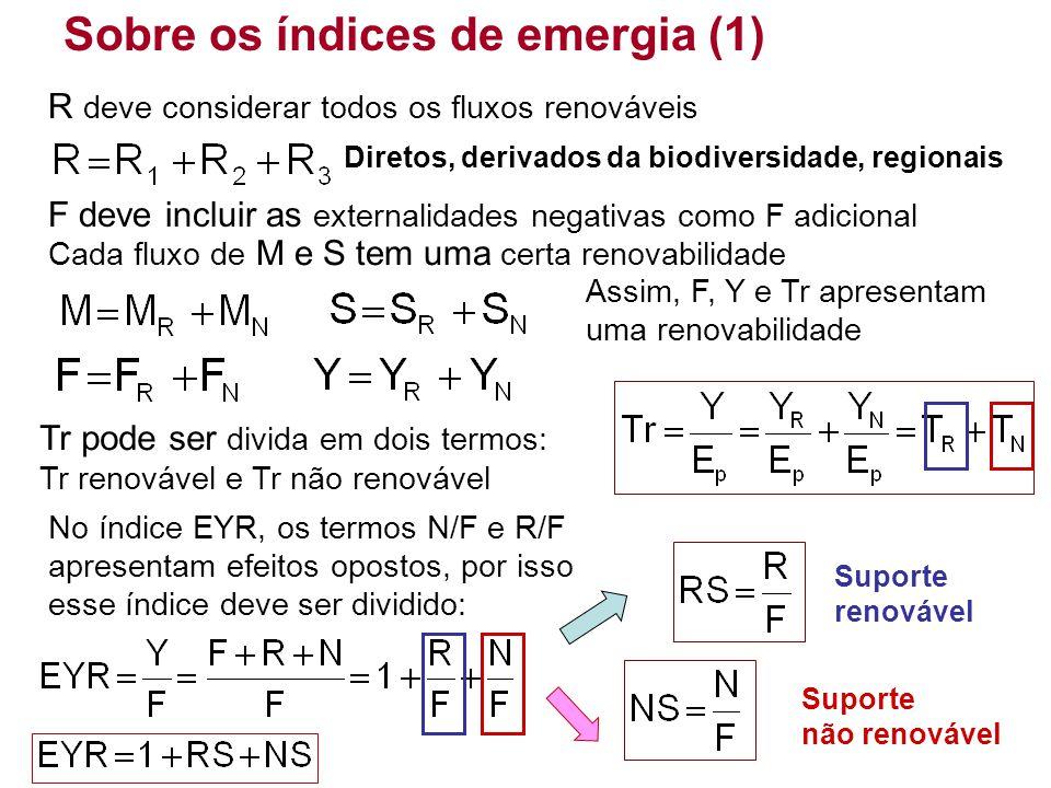 Suporte não renovável Sobre os índices de emergia (1) F deve incluir as externalidades negativas como F adicional R deve considerar todos os fluxos re