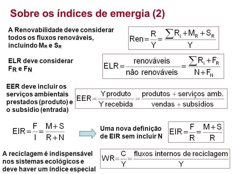 Sobre os índices de emergia (2) A Renovabilidade deve considerar todos os fluxos renováveis, incluindo M R e S R ELR deve considerar F R e F N EER dev